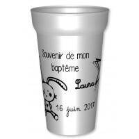 Gobelet pour cadeau bapteme Lapin noir-01