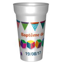 Gobelets réutilisables thème cubes,personnalisable avec prénomet la date du baptême. Pour des gobelets imprimés à l'un