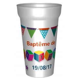 GOBELET BAPTEME CUBES QUADRI