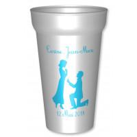 Gobelet personnalisé blanc pour mariage, en plastique réutilisable : Personnalisez la couleur d'impres