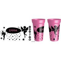 Gobelet rose avec des dessins de fées,personnalisable avec le prénom de votre choix. Personnalisable à partir d'1 gobe