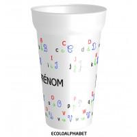 C'est le gobelet plastique prénomavec l'alphabet. Personnalisable à partir d'1 gobelet ! - réutilisable