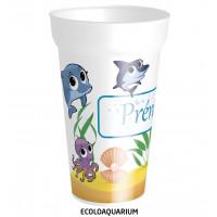C'est un gobelet en plastique réutilisable,avec prénom personnalisable sur le thème des poissons. Il peut être personna