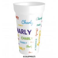 Gobelet en plastique réutilisable,avec prénom personnalisable en plusieurs couleurs. ATTENTION : CE MODELEN'E