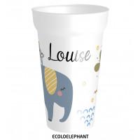 Superbe gobelet réutilisable avec un bel éléphant, et le prénom que vous souhaitez.
