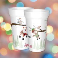 Bel eco-cup personnalisable pour le repas de famille du réveillon.