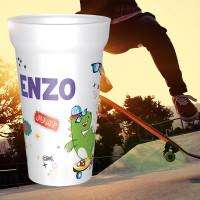 Gobelet réutilisable avec prénom sur thème skate