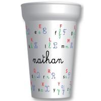 C'est le gobelet plastique prénomavec l'alphabet. Personnalisable à partir d'1 gobelet ! - ecologique