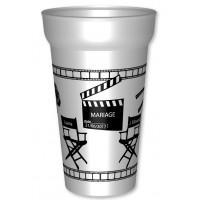 Gobelet cinéma de 25cl utile, en plastique réutilisable personnalisé pour votre mariage, pacs ou autre : Personnalisez l