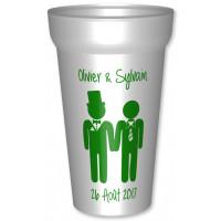 Gobelet en plastique réutilisable blanc,de 25/33cl  personnalisé pour votre mariage / PACS : Personnalisez l