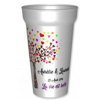 """Gobelets 25/33cl blanc,réutilisables """"La vie est belle"""" personnalisés avec prénoms et date. Pour des gobelets imprimés"""